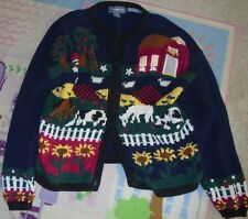 FUNKY Hand knitted womens size Medium sweater button front Farm and animals