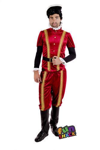 Tudor Earl Mens Fancy Dress Blackadder Medieval Lord Book Day Adults Costume