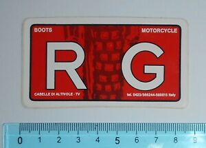 ADESIVO-VINTAGE-STICKER-AUTOCOLLANT-RG-MOTORCYCLE-BOOTS-ANNI-039-80-8x4-cm
