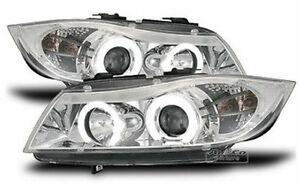 BMW-E90-Angel-Eyes-Scheinwerfer-Chrom-Weisse-LED-Standlicht-Ringe-Europaw-zugel