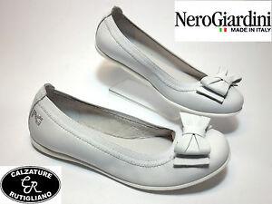 Elastico Nero Ragazza Su Pelle Bambina Bianco Dettagli P631224f Ballerine Scarpe Giardini EH9YWID2
