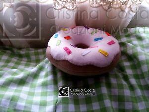 Cuscino A Forma Di Ciambella.Dettagli Su Cuscino Fantasia Donuts Ciambella Rosa Misura Piccola 20 Cm A Forma Di Biscotto