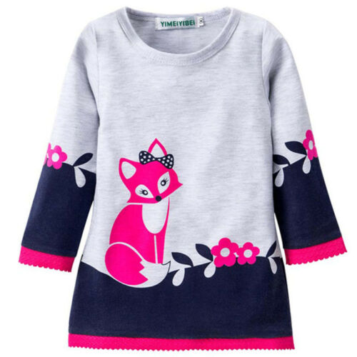 Child Babys Girl Kids Autumn Clothes Long Sleeve Party Fox Princess Tutu Dress