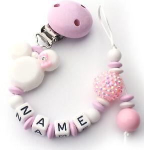 schnullerkette mit namen rosa wei minnie acryl nucki m dchen kette ebay. Black Bedroom Furniture Sets. Home Design Ideas