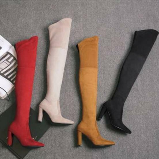 femmes British Stretchy Suede Chunky Knight Ridding Knee High High Heel chaussures