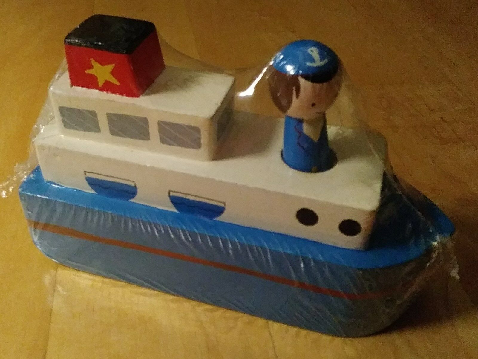 Wooden Toy Boat   Ship by Pier 1 Imports - 2 pieces - NEW - Rare - Classic