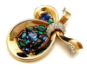 Crown-Trifari-Pat-Pend-Jeweled-Symphony-Rhinestone-Brooch-Blue-Green-Pave-Set