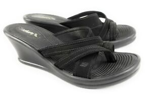 Skechers-Cali-Rumblers-Black-Neoprene-Slip-On-Thongs-Wedge-Heels-Women-039-s-Size-7