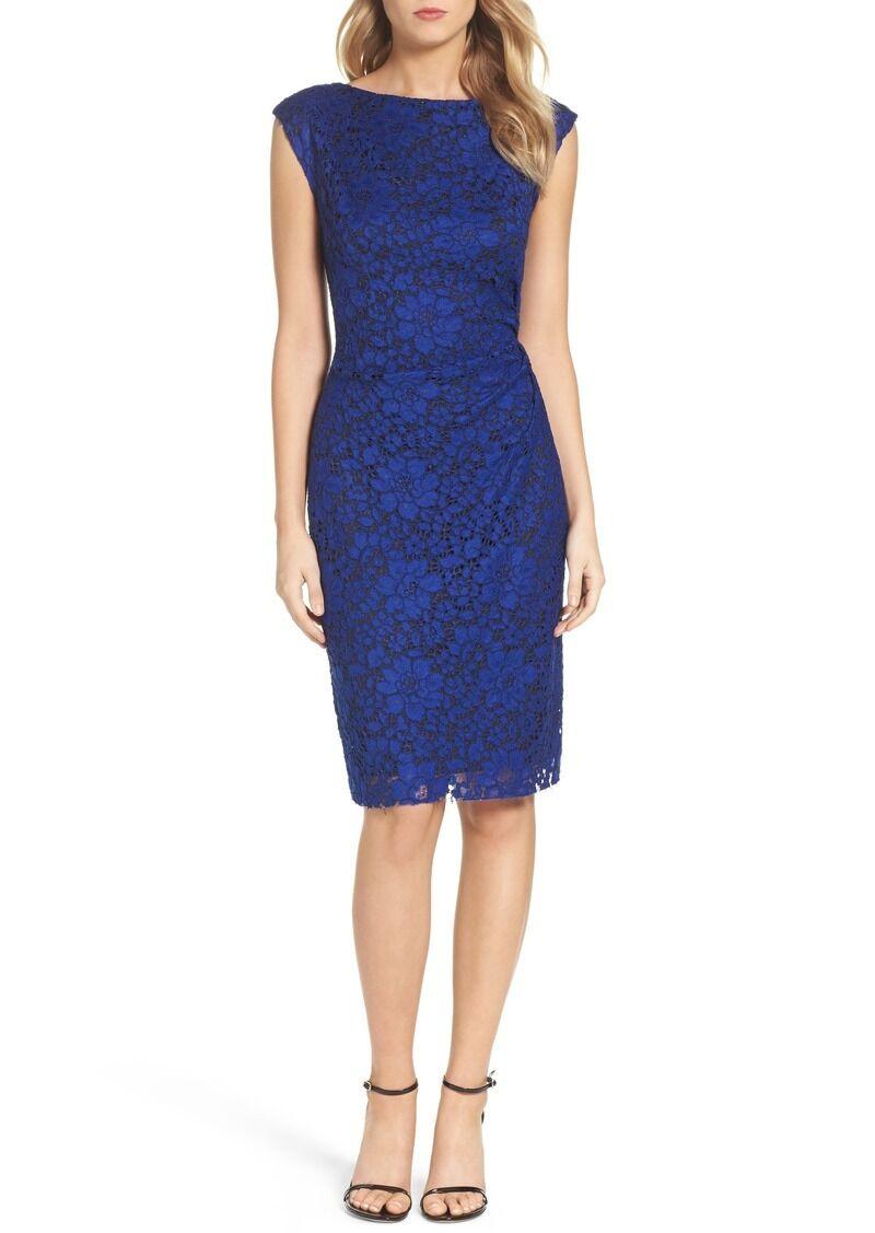 BETSEY JOHNSON LACE ROYAL blueE SHEATH DRESS sz 0