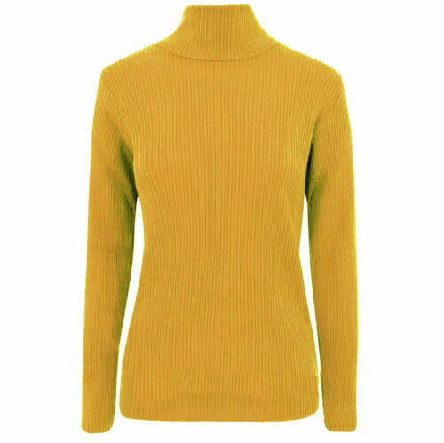 Womens Ladies High Roll Polo Neck Knitted Ribbed Jumper Sweater Top UK Plus Size