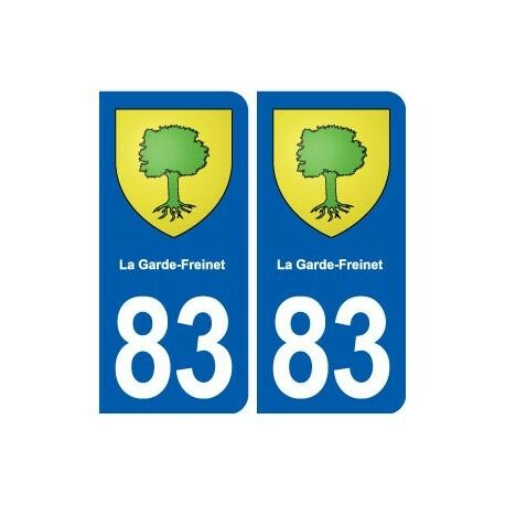 83 La Garde-Freinet blason autocollant plaque stickers ville -  Angles : droits