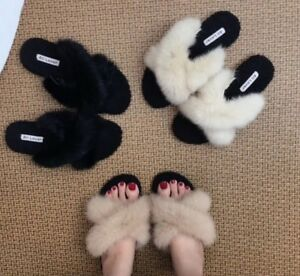 Rabbit-Fur-Lining-Slide-Black-Brown-White-Cross-Straps-Sandals