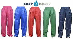 DRY-KIDS-Waterproof-Over-Trousers-Rain-Children-Boys-amp-Girls-Childs-age-2-13