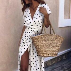 Womens-Boho-V-Neck-Polka-Dot-Print-Long-Party-Short-Sleeve-Dress-Sundress-LJ