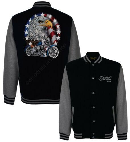 Velocitee Baseball Varsity Jacket American Biker /& Eagle Motorcycle A00237