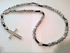 Shamballa Crucifix cross Necklace White & clear/silver beads & Diamante Cross