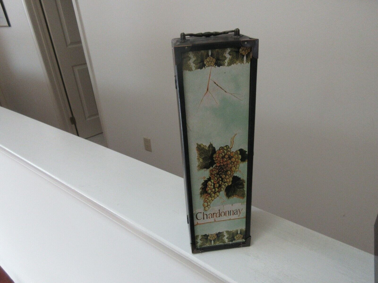 """Wooden Wine Carrier / Holder / Tote , 13 1/2"""" X 4"""" X 3"""