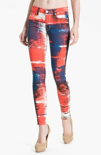 ny HUDSON NICO Kvinnor Abstract Flag Mid -Rise Super Skinny Jeans Storlek 25 Stretch