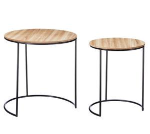 Beistelltisch Tisch 2er Set Serviertisch Couchtisch Ø / Höhe 44/44 und41/34 cm
