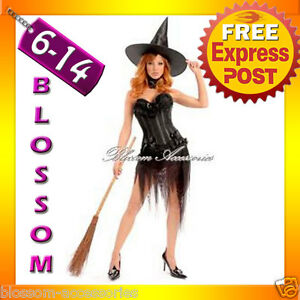 B1-Ladies-Black-Halloween-Witch-Corset-Fancy-Dress-Up-Costume-Outfit-Hat