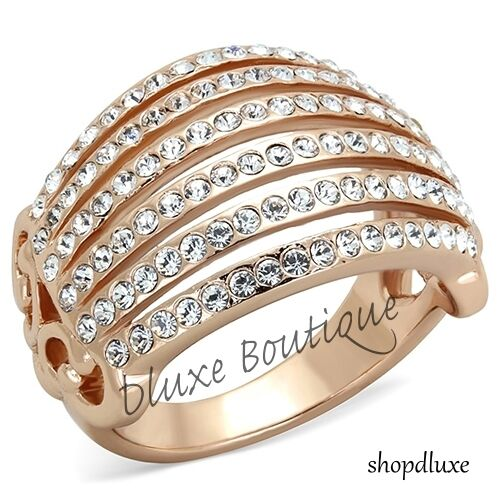 1.35 Ct Round Cut CZ Rose Gold Plated Wide Band Fashion Ring Women's Size 5-10