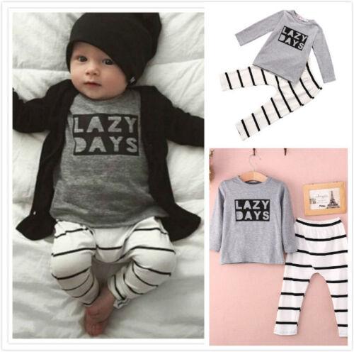 Newborn Unisex Toddler Baby Shirt /& Pants Jumpsuit Outfits Playsuit Clothing Set