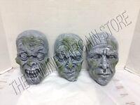 Grandinroad Halloween Set 3 Faux Stone Rock Faces Creepy Scary Yard Prop Decor