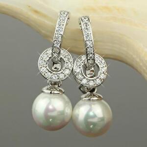 Boucles-d-039-oreilles-perles-zirconium-blanc-750er-OR-18-carats-plaque-argent