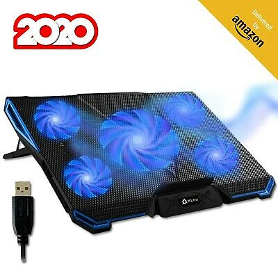 ⭐️KLIM Cyclone Laptop Cooling Pad No More Overheating Gaming Stand to Reduce Heating Blue Ventilated Support for Laptop Increase Your PC Performance and Life Expectancy 5 Fans Cooler