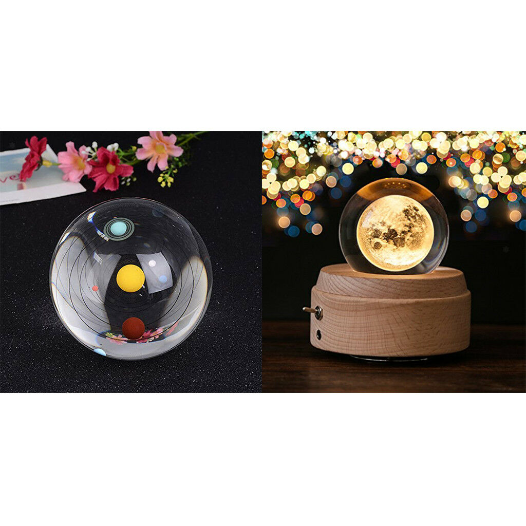Solar System & Moon Crystal Ball 3D Model Kids Astronomical Science Toy Gift