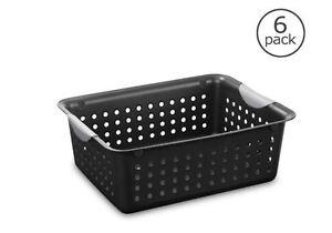 Image Is Loading Storage Basket Plastic Organizer Bin Black Laundry Hamper
