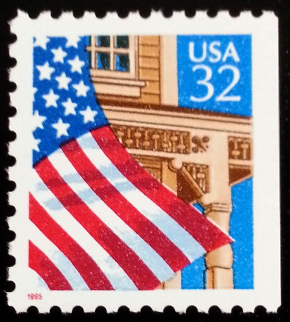 1995 32c Flag over Porch, Booklet Single Scott 2916 Min