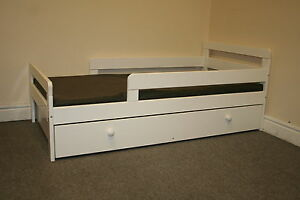 WHITE ELLIS PINE TODDLER BED FRAME WITH UNDER BED STORAGE