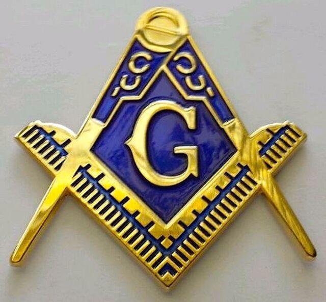 Chrome Golden Master Mason Auto Cut Out Car Emblem For Blue Lodge