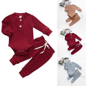 Newborn-Baby-Girls-Solid-Clothes-Romper-Jumpsuit-Tops-Pants-2Pcs-Kid-Outfits-Set