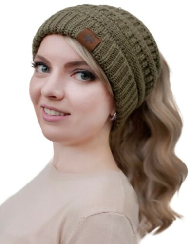 New Ponytail Beanie Softest Stretch Cable Messy Bun Knit Hat