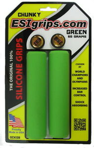 Esi Chunky Green Mountain Bike Grips 100 Silicone Shock Absorbing