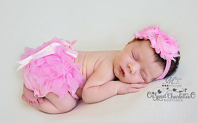 Newborn Photo Prop Chiffon Ruffle Baby Bloomer diaper cover infant 0-24 months