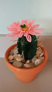 Image Is Loading Handmade French Beaded Flower Cactus Cacti Plant With