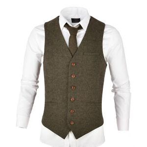 Homme-Melange-Laine-Herringbone-Tweed-Gilet-Gilet-Gilet-Toutes-Les-Tailles-Kaki