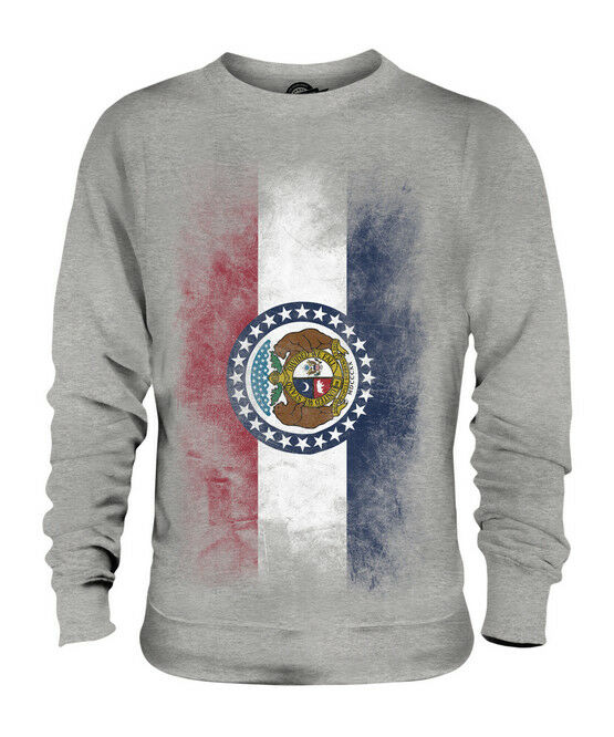 MISSOURI STATE FADED FLAG UNISEX SWEATER TOP MISSOURIAN SHIRT JERSEY GIFT