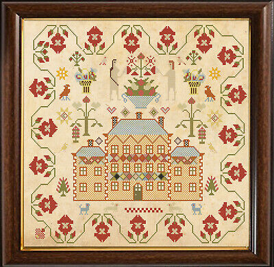 Cross Stitch Sampler Antique French 1846  Reproduction Counted Chart PDF /& Print