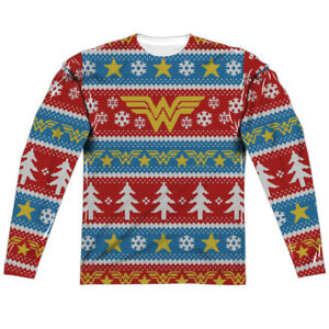 Dc Christmas Sweater.Details About Wonder Woman Dc Comics Ugly Christmas Sweater Sublimation Long Sleeve Shirt