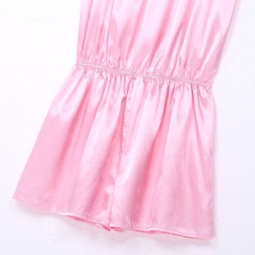 Men Shiny Nightwear Frilly Sleepwear Dress Shoulder Straps Pants Stain Pajamas