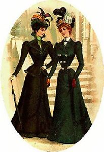 Women-in-Black-counted-cross-stitch-pattern-1221-Vintage-People-Ladies-Chart
