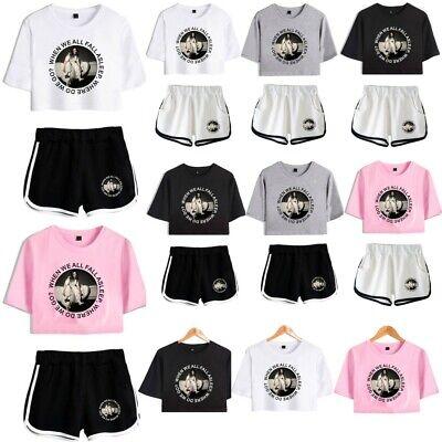 2pcs Womens Billie Eilish Crop Top T Shirt Shorts Loungewear Co Set Outfits Uk Ebay