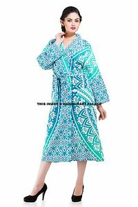 Indian-Ombre-Mandala-Bath-Robe-Evening-Gown-Lingerie-Cover-Up-Cotton-Bohemian