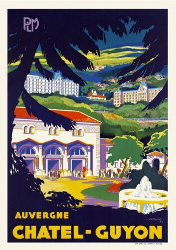 Vintage French Travel Poster 1930s Châtel-Guyon Auvergne Art Deco Print Mountain