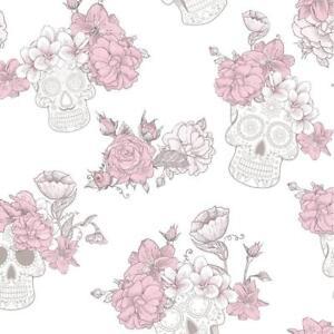 Image Is Loading Pink Glitter Flower Funky Skulls Quality Feature Designer