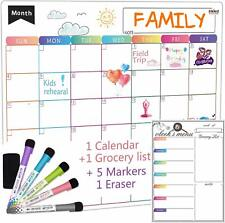 Dry Erase Calendar Whiteboard Set Of 2 Magnetic Calendars For Kitchen Refrigera